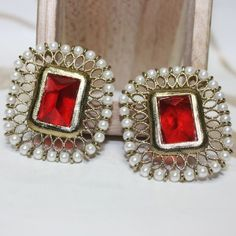 Ethnic polki work earrings crafted with beads and stone