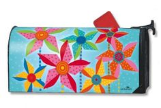 Magnet Works MailWraps Mailbox Cover - Pinwheels Design Magnetic Mail at GardenHouseFlags Security Mailbox, Mailbox Accessories, Magnetic Mailbox Covers, Painted Mailboxes, Metal Mailbox, Home Safety, Flag Decor, Barn Quilts, House Flags