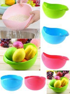 [Visit to Buy] 1pc Super Practical Creative Fashion Plastic Wash Rice Colander Strainer Sieve Bright Kitchen Plastic Drain Vegetables Basket #Advertisement