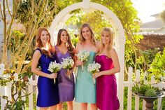 If you're a more daring bride don't be afraid to mix colors for your wedding! This could be a great look for a spring wedding.  *Wearing dresses by Anna Elyse