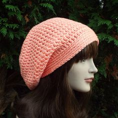 Light Peach Slouch Beanie  Womens Slouchy by ColorMyWorldCrochet