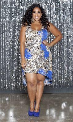 1x thru 4x $59.00 Super trendy hi lo dress in a bold print that is a mix of zebra, royal blue and gold foil.