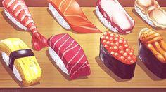 food porn, gif, and hungry image Think Food, I Love Food, Bento Anime, Cute Food, Yummy Food, Anime Gifs, Anime Kunst, Food Cartoon, Japon Illustration