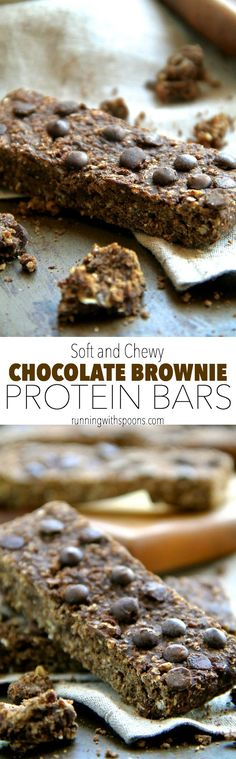 Soft and Chewy Chocolate Brownie Protein Bars -- a quick and easy homemade protein bar that's PERFECT for chocolate lovers! Gluten-free, vegan, and refined sugar-free, it makes a delicious balanced snack! || runningwithspoons.com