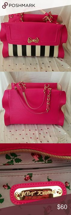 """Besty Johnson  Satchel        NWT Flouncin' Around  Stripe, in vibrant colors of fuchsia black white and pink, extremely spacious with one zipper pocket and two Side open pockets on the inside also comes with a crossbody strap. Handbag is real has never been used it's just too big for a short person like me at 4 foot 11""""  comes from a smoke-free and pet-free home now looking for a new home thank you and have a great day. Besty Johnson  Bags Satchels"""