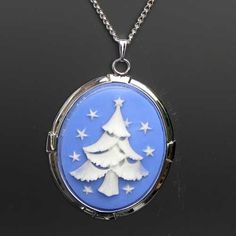 White Christmas tree cameo necklace blue | Susie Carol jewellery