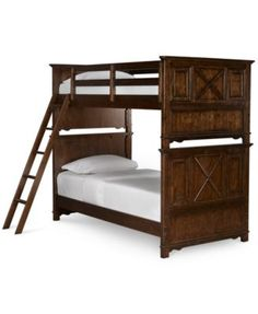 Explorer Twin Bed over Twin Bunk $999.00 A stately twin bed and twin bunk for your children. Elegance and refinement are pronounced by the rich saddle brown finish of the piece replete with picture frame detailing.