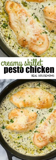 Creamy Skillet Pesto Chicken has the most flavorful white cream pesto sauce imaginable covering juicy chicken and topped with parmesan cheese via realhousemoms Cheese Sauce For Chicken, Cream Sauce For Chicken, Cream Sauce Pasta, Chicken Sauce Recipes, Chicken Parmesan Recipes, Chicken With Cream Cheese, Creamy Pesto Sauce, Basil Pesto Sauce, Parmesan Pesto Sauce