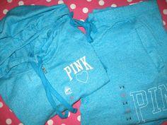 NEW VICTORIA'S SECRET LOVE PINK BLUE boyfriend SWEAT PANT HOODIE SET large L NWT