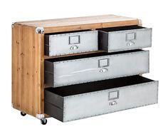Cómoda de madera y aluminio con 4 cajones. Largo: 104 cm Alto: 82 cm Ancho: 43 cm 676€