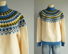 Vintage Nordic Sweater / Hand Knit Wool Fair Isle Pullover Patterned Yoke Cream Blue Olive / Made in Norway Rim Fair Isle Knitting, Hand Knitting, Knitting Patterns, Norwegian Knitting, Nordic Sweater, Icelandic Sweaters, Pullover, Knitwear, Knit Crochet