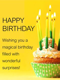 Wishing You a Magical Birthday - Happy Birthday Card: A simple and sweet birthday card for anyone on your list. This adorable cupcake and candle birthday card is sure to brighten anyone's day. The vibrant green and yellow colors of the birthday card are cheerful and fun. The bold black lettering contrasts beautifully with the yellow background. All ages are sure to love receiving this perfect birthday card.