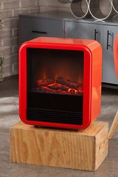Fasser Red-Orange Electric Fireplace