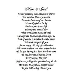 A Message from the Bride and Groom to their Parents