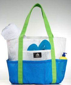 Whale Bag * White * Bright Blue Pockets* Caribbean Apple Green Straps * - www.saltwatercanvas.com