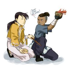 Haha! That WOULD totally happen if those two met. XD -- Fullmetal Alchemist: Brotherhood + Avatar: The Last Airbender