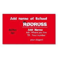 Shop Rød Russ Kort created by ZierNorRussen. Slogan, Business Cards, Things To Come, Names, School, How To Make, Lipsense Business Cards, Name Cards, Visit Cards