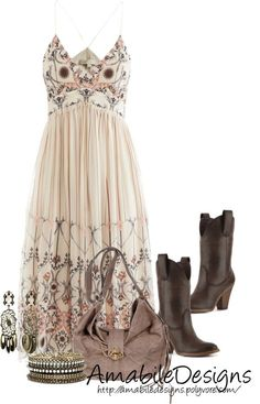 A fashion look from February 2013 featuring Vanessa Bruno dresses, Madden Girl boots und Velvetine shoulder bags. Browse and shop related looks. Mode Country, Country Girl Style, Country Fashion, Country Girls Outfits, Country Dresses, Western Outfits, Fashion Mode, Love Fashion, Womens Fashion