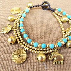 Elephant Charms Multi Line Bracelet with Turquoise by Summerwrist, $12.00