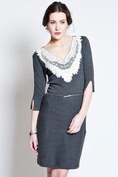 #love lace collar sweater dress...