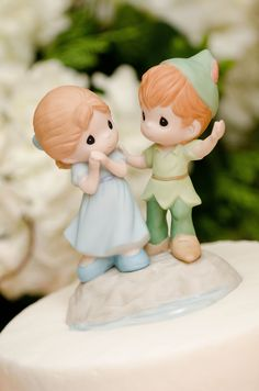 Wedding Cake topper! Peter Pan and Wendy! Disney Precious Moments. #blatchleywedding