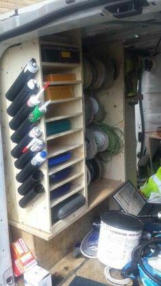 Van 2 rack More. Van Storage, Truck Storage, Diy Garage Storage, Shed Storage, Tool Storage, Storage Ideas, Shelving Ideas, Van Organisation, Trailer Organization