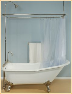 Clawfoot tub - like the shower option - both the shower curtain ...