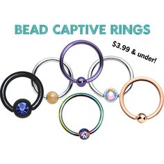 Bead Captive Rings | BCR | Captive Bead Rings - Body Candy Body Jewelry
