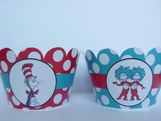 Dr Seuss Cat in the hat cupcake wrappers party by BellasnFellas, $7.50