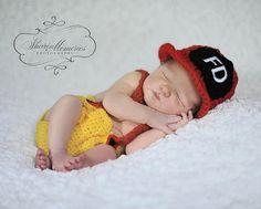 Custom Crochet Little Firefighter Set via Etsy  Also cute in black and red