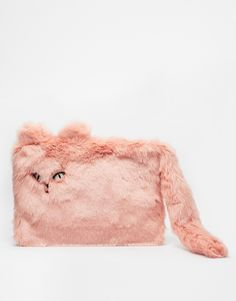 This is the greatest clutch I've ever seen. New Look Furry Cat Clutch Bag.