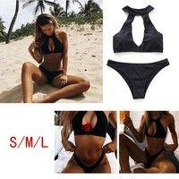 Wish | Women Sexy Bikini Swimsuit Push-Up Bandage Bra Set Beachwear High Neck Bathing Suit 1 pcs