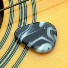 Custom Made Hand-Blown Glass Guitar Pick In Blue Swirls