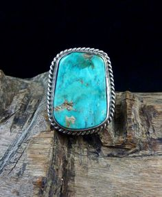 Size 8 Vintage Navajo Sterling Silver Ring w Large & Bright Blue Gem Turquoise! Turquoise Rings, Turquoise Stone, Turquoise Bracelet, Blue Gem, Southwestern Style, American Jewelry, Bling Bling, Navajo, Native American
