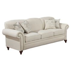 A perfect addition to your living room or den, this wood-framed sofa showcases rolled arms and nailhead trim.    Product: Sofa...