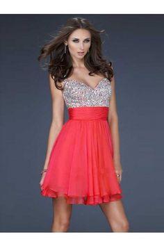 A-line Spaghetti Straps Short/Mini Chiffon Cheap Homecoming Dresses #AUSA009018