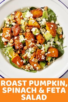 This Roast Pumpkin, Spinach and Feta Salad with Honey Balsamic Dressing is a bright and fresh antidote to bland and boring salads. It's great as a meal on its own or paired with some tasty barbecued meat as the perfect side dish. Pumpkin And Feta Salad, Spinach Feta Salad, Roast Pumpkin Salad, Best Salad Recipes, Healthy Dinner Recipes, Vegetarian Recipes, Cooking Recipes, Healthy Food, Cilantro