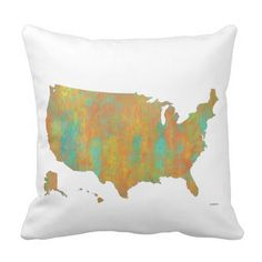 Oklahoma Throw Pillows Map Of The United States In Vintage - Us map pillow personalized