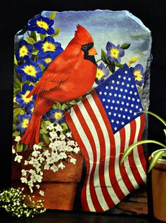 Bird - Cardinal with American Flag Stone Art - Rock Plaque for Home ...