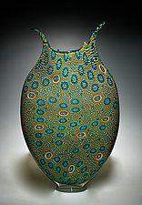 "Gold, Aqua, and Emerald Foglio by David Patchen (Art Glass Vessel) (22.5"" x 13.5"")"