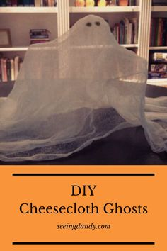 These cheesecloth ghosts are so easy to make. The perfect DIY Halloween decoration! #diy #halloween #halloweendecor #halloweendecoration #falldecor #kidscraft #diyhalloween #cheeseclothghost #ghostcraft #diyghost #halloweenparty