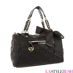 Betsey Johnson Be My One And Only Satchel Purse in Black