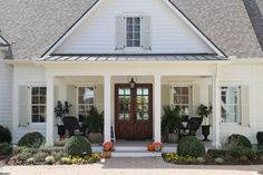 Classic Farmhouse Painted Sherwin Williams Dover White Shutters Are SW Ancient Marble