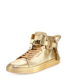 BUSCEMI 100Mm Metallic High-Top Sneaker, Gold. #buscemi #shoes #