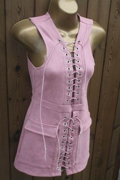Womens Pink Faux Suede Lace Up Sleeveless Fitted Mini Dress Bodycon Size UK 6 8 #PRETTYLITTLETHING #Bodycon #PartyCocktail