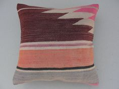 "HANDWOVEN Traditional Turkish Kilim Pillow Cover 16"" X 16"",Tribal Pillow,Vintage Kilim Pillow, Kilim Ebroidery Pillow"