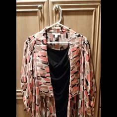 Women's Blouse Coral, brown, tan and black blouse.  1 piece but looks like 2. Dress Barn Tops Blouses