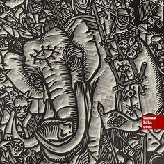 Tomás Hijo ~ Detail of The Battle of the Pelennor Fields ~ Linocut