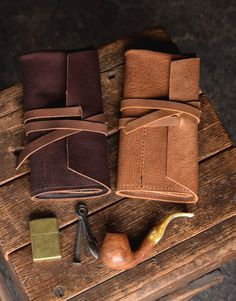 Rustic Leather Pipe Roll for Tobacco Smoking – Craft and Lore Leather Notebook, Leather Books, Leather Journal, Wooden Smoking Pipes, Tobacco Smoking, Leather Tobacco Pouch, Leather Pouch, Sewing Leather, Leather Craft