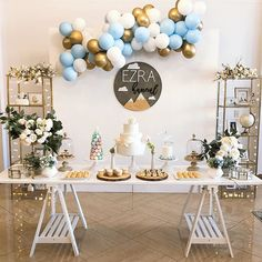 "HANA PARTY on Instagram: ""Sky, 1st birthday party Planning and Decorations: @hanapartycom…"" 1st Birthday Parties, Party Planning, Hana, Photo And Video, Table Decorations, Ideas Party, Babyshower, Furniture, Instagram"